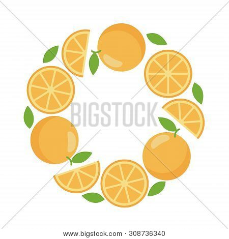 Round Frame Of Orange For Web Template, Flat Style