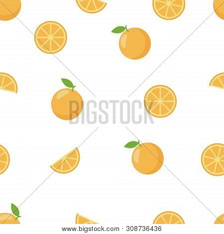 Background Orange - Seamless Pattern In Flat Style.
