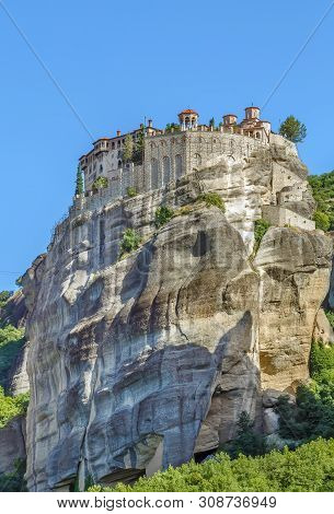 View Of Rock With Monastery Of Great Meteoron In Meteora, Greece