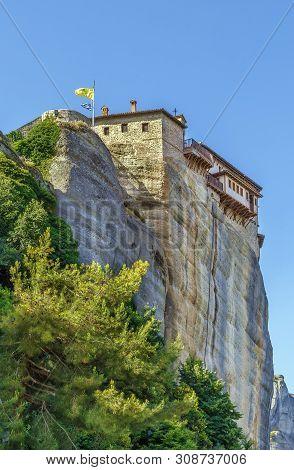 View Of Monastery Of Rousanou On Rock In Meteora, Greece