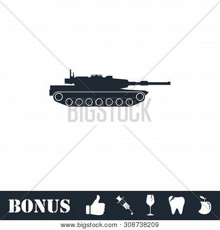 Tank Icon Flat. Vector Illustration Symbol And Bonus Pictogram