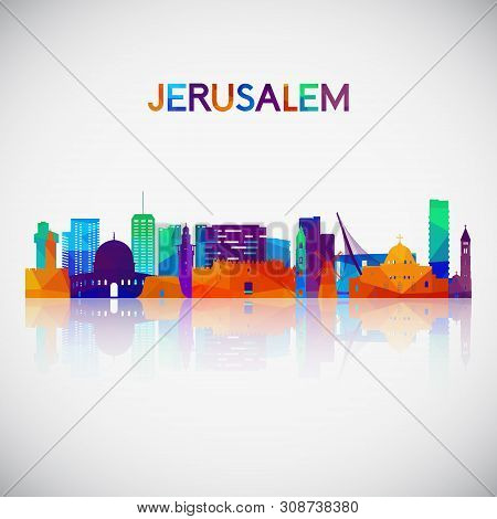 Jerusalem Skyline Silhouette In Colorful Geometric Style. Symbol For Your Design. Vector Illustratio