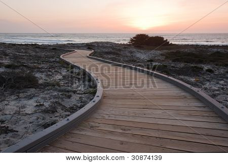 Sunset Over A Walkway Through Sand Dunes At Asilomar State Park In California