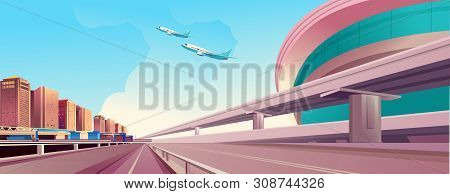 Vector Horizontal Illustration, Day City Landscape, Outskirts Of The City, With A Large Trestle Cros