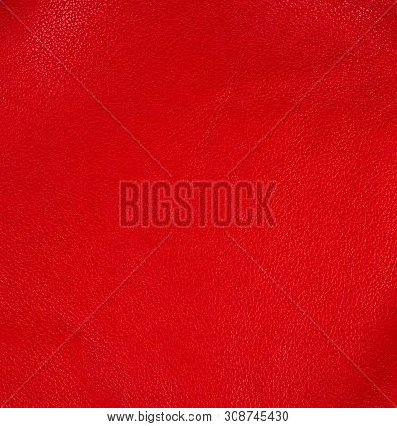 Natural Bright Red Cowhide Texture, Full Frame, Scarlet Color