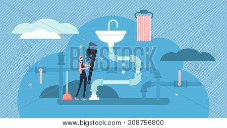 Plumber Occupation Vector Illustration. Flat Tiny Faucet Repair Persons Concept. Construction Servic