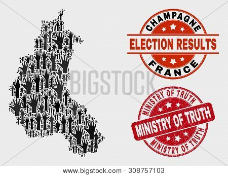Ballot Champagne Province Map And Seals. Red Round Ministry Of Truth Grunge Seal Stamp. Black Champa