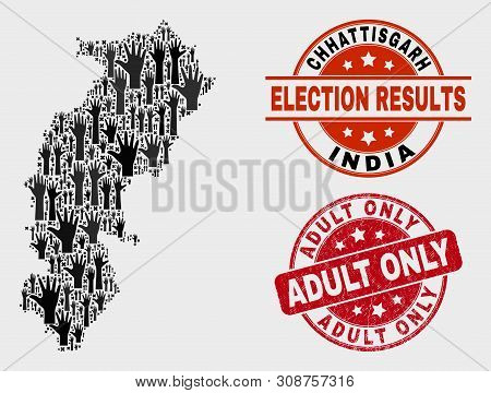 Electoral Chhattisgarh State Map And Watermarks. Red Rounded Adult Only Textured Seal. Black Chhatti