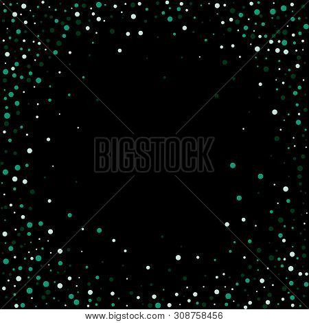 Green Flickering Particles. Holiday Postcard. Abstract Vector Background. Eps 10