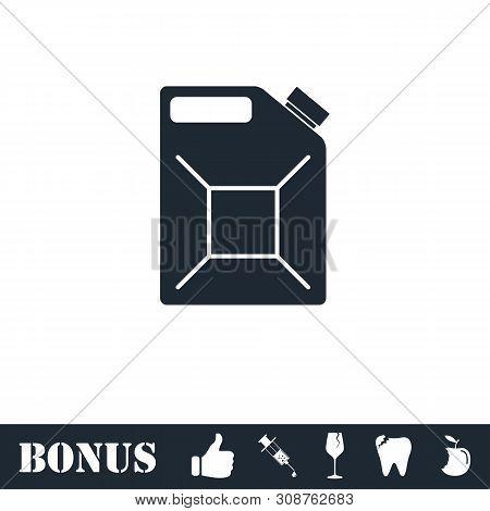 Jerrycan Oil Icon Flat. Vector Illustration Symbol And Bonus Pictogram