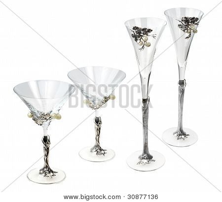 Four Glass Wine Goblets Isolated On White