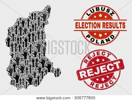 Electoral Lubusz Voivodeship Map And Seal Stamps. Red Round Reject Distress Seal Stamp. Black Lubusz