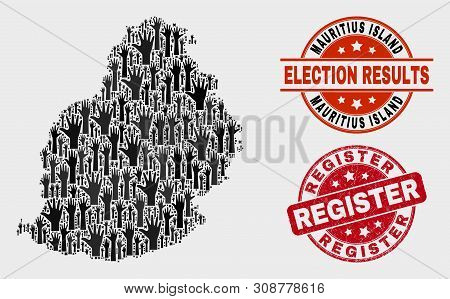 Vote Mauritius Island Map And Stamps. Red Round Register Distress Seal Stamp. Black Mauritius Island