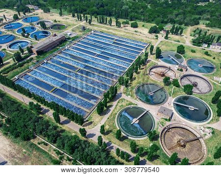 Modern Wastewater Treatment Plant With Round Ponds For Recycle Dirty Sewage Water, Aerial View From