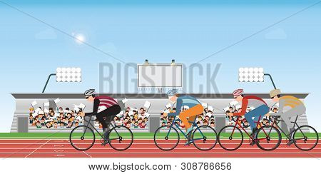 Group Of Cyclists Man In Road Bicycle Racing On Athletic Track With Crowd In Stadium Grandstand To C