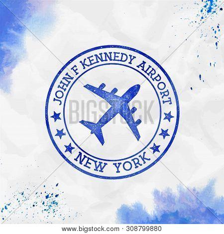 John F Kennedy Airport New York Logo. Airport Stamp Watercolor Vector Illustration. New York Aerodro