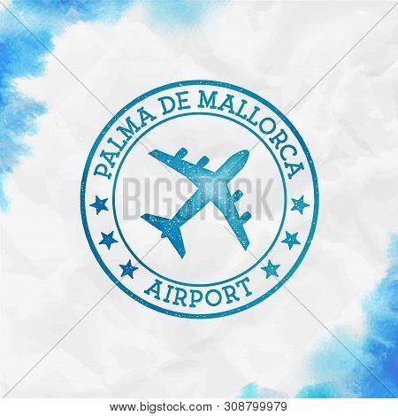 Palma De Mallorca Airport Logo. Airport Stamp Watercolor Vector Illustration. Palma De Mallorca Aero
