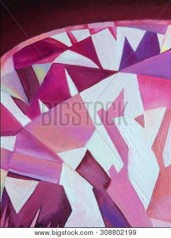 Abstract Polygonal Pink Diamond Oil Painting Background