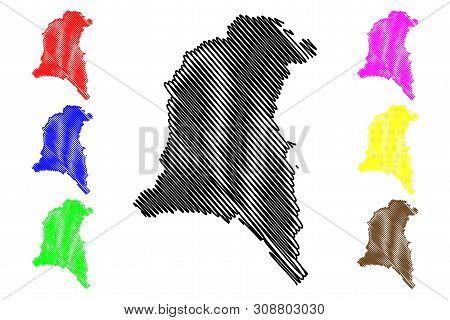 Sud-Ouest Region (Regions of Burkina Faso, Burkina Faso) map vector illustration, scribble sketch Sud Ouest map poster
