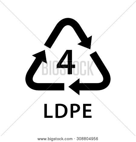 Recycle Arrow Triangle Ldpe Types 4 Isolated On White Background, Symbology Four Type Logo Of Plasti