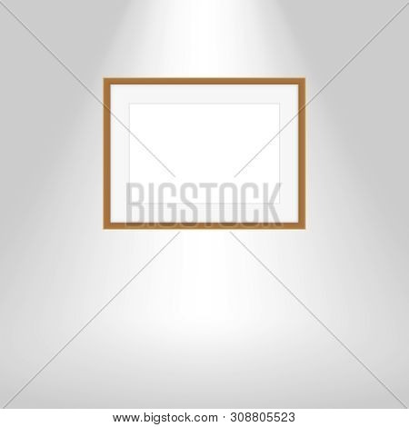 Wood Frames On Gray Wall, Portrait Brown Wooden Frame, Mock Up Template Picture Frame, Frames Cute F