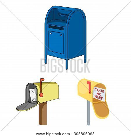 Bitmap Design Of Mailbox And Letter Icon. Set Of Mailbox And Mail Bitmap Icon For Stock.