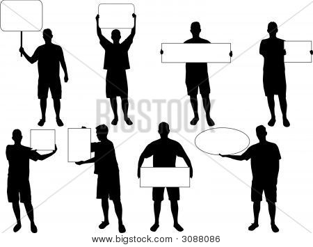 Holding Blank Board Silhouettes