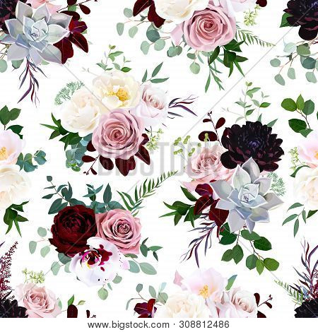 Dark Flowers Vector Floral Pattern. Dusty Pink Rose, Exotic Orchid, Burgundy Dahlia, Camellia, Echev