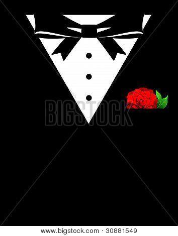 Vintage confrontation with the jacket, a shirt and a bowtie macro vector