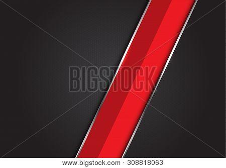 Abstract Red Silver Line Slash On Dark Grey Black Hexagon Mesh Pattern Design Modern Luxury Futurist