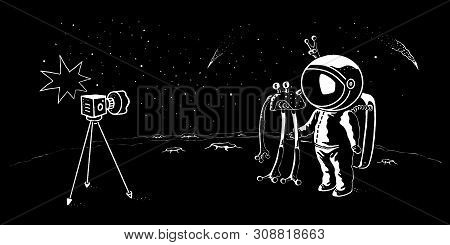 Astronaut And Ufo Doodle Style Vector Illustration. Pioneer Spaceman Meets Cosmic Creatufe And Makes