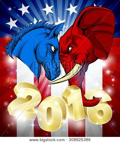 A Blue Donkey And Red Elephant Facing Off. American Politics 2016 Election Concept With Animal Masco
