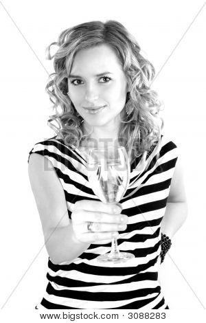Beautiful Girl With Champagne