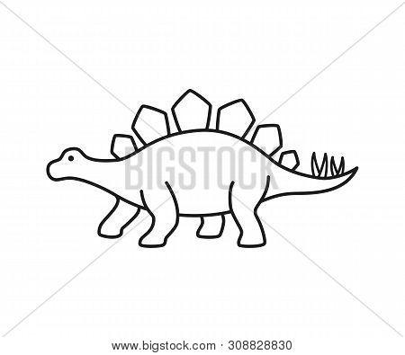 Stegosaurus Vector Contour Silhouette. Dinosaur Stegosaurus Black Contour Isolated On White Backgrou