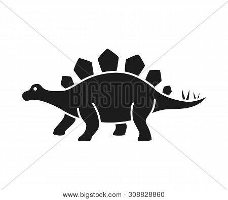 Stegosaurus Vector Silhouette. Dinosaur Stegosaurus Black Silhouette Isolated On White Background