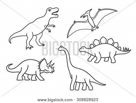 Vector Outline Dinosaurs - T-rex, Brachiosaurus, Pterodactyl, Triceratops, Stegosaurus. Cute Flat Di