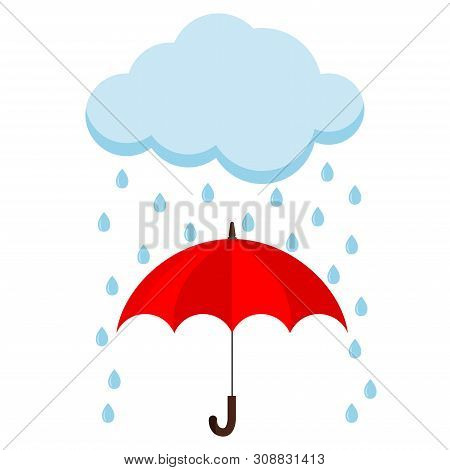 Icon Of Cloud, Rain And Opened Red Umbrella Cane In The Rain Isolated On White Background. Flat Desi