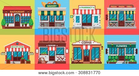 Restaurants And Shops Facades. Old Shop Building, Market Store And Restaurant Buildings Exterior. Sh