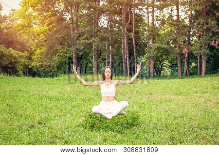 Yoga Meditation Levitation - Young Woman Doing Yoga Outdoor