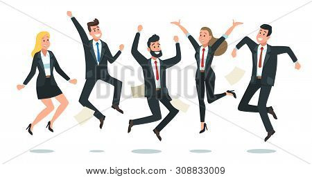 Jumping Business Team. Office Workers Jump, Happy Corporate Colleagues Jumped Together And Teamwork