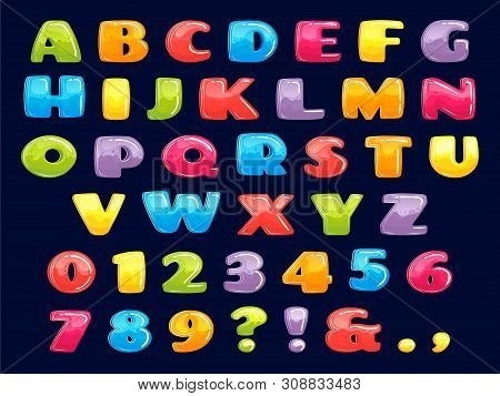 Color Cartoon Font. Chubby Colored Letters, Fun Kids Games Alphabet And Funny Child Letter. Kid Abc