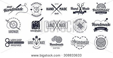 Handmade Badges. Hipster Craft Badge, Vintage Workshop Labels And Handcraft Logo. Logotype Workshop,