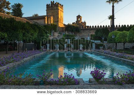 Cordoba, Spain, September, 26, 2017: The Formal Garden Of The Alcazar De Los Reyes Cristianos In Cor
