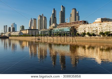 Sweeping View Along The Rio De La Plata Of The Perto Madero District Of Buenos Aires, Argentina With