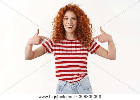 You Need Me. Proud Boastful Confident Good-looking Redhead Curly Stylish Woman Pointing Herself Sugg