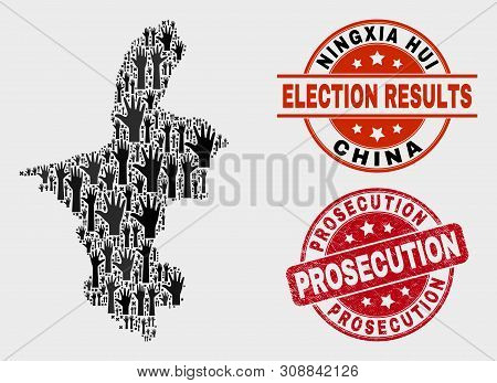 Democracy Ningxia Hui Region Map And Seals. Red Round Prosecution Scratched Seal Stamp. Black Ningxi