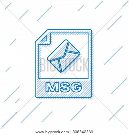 Blue Msg File Document Icon. Download Msg Button Line Icon Isolated On White Background. Msg File Sy