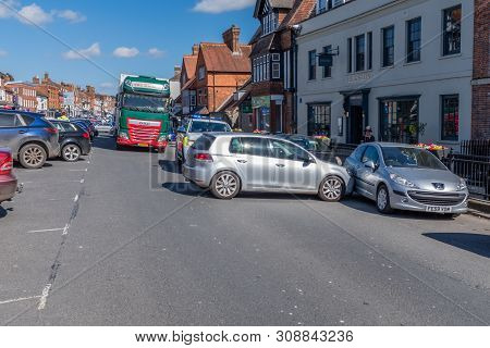 Marlborough, Wiltshire, Uk, March, 24, 2019: The Handbrake On A Car Fails Causing It To Run Into Ano