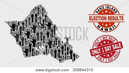 Election Oahu Island Map And Seals. Red Rounded Only 1 Day Sale Scratched Seal. Black Oahu Island Ma