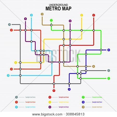 Subway Tube Map. City Transportation Vector Grid Scheme. Metro Underground Map. Dlr And Crossrail Ma